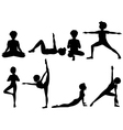 Silhouette of people exercising vector image vector image