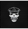 silver captain skull on metal background vector image