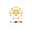 sun and sea linear logo vector image