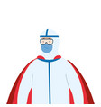super person with biohazard suit and hero cloak vector image vector image