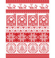 Tall xmas pattern with gingerbread house reindeer vector image vector image