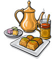 tea baklava and delight vector image vector image