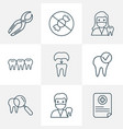 tooth icons line style set with teeth dental care vector image