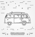 Travel bus family camper with surf board thin line