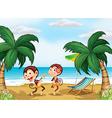 Two monkeys wearing a hawaiian attire vector image vector image