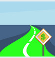 winding road with a dollar sign vector image