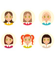 Womens faces Woman with different hair color and vector image