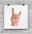 rock and roll hand sign hand-drawn icon horns up vector image
