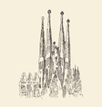 architecture in barcelona vintage engraved vector image