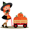 Witch Halloween carries a wheelbarrow full of pump vector image