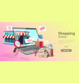 3d online shopping landing page template mobile vector image