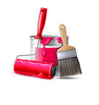 3d wall painter tool brush roller bucket vector image