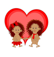 A couple of funny cartoon hedgehogs with a heart vector image vector image