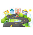 A curve road going to the city with high buildings vector image vector image