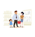 a happy family in a supermarket vector image