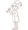 A plain drawing of a boy graduating vector image vector image