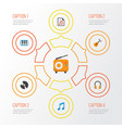 Audio flat icons set collection of acoustic tone