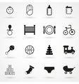 baby icons set black on white background vector image