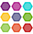 black and white golf ball icon set color vector image vector image
