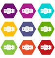 black metal belt buckle icon set color hexahedron vector image vector image