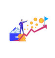 business man stand at coin pile pointing on flag vector image