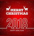 christmas greetings card with red background snow vector image vector image