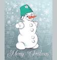 christmas snowman on skates vector image vector image