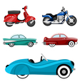 classic cars and motorcycles vector image vector image