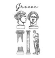 collection ancient columns and sculptures of vector image