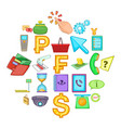 credit icons set cartoon style vector image vector image