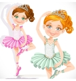 Cute little ballerina girl in pink and green tutu vector image vector image