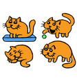 cute orange cats emoticons set isolated vector image vector image