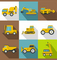 different construction machinery icons set vector image vector image