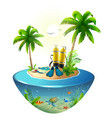 diving in tropical sea off paradise island beach vector image vector image