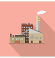 Factory with Long Shadow in Flat Style vector image vector image