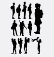 family and school silhouette vector image