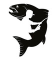 fish and fisherman silhouette vector image vector image
