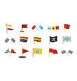 flag icon set flat style vector image vector image