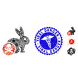 flu collage rabbit toxin icon with health care vector image vector image