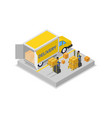 forklift cart loading truck isometric 3d icon vector image
