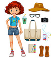 Girl hipster vector image