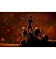 Goddess Durga killing Mahishasura in Subh Navratri vector image vector image