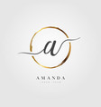 gold elegant initial letter type a vector image vector image