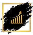 growing graph sign golden icon at black vector image vector image