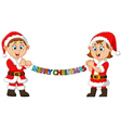 happy kid holding christmas banner vector image vector image