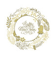 happy new year circle wreath sketch composition vector image