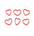 hearts brush scarlet vector image vector image