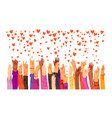 human hands rised up and sending love vector image