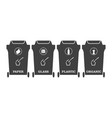 icons of garbage containers with the binding of a vector image vector image