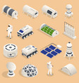 isometric set icons space equipment and vector image